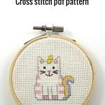 Cat unicorn cross stitch pdf pattern