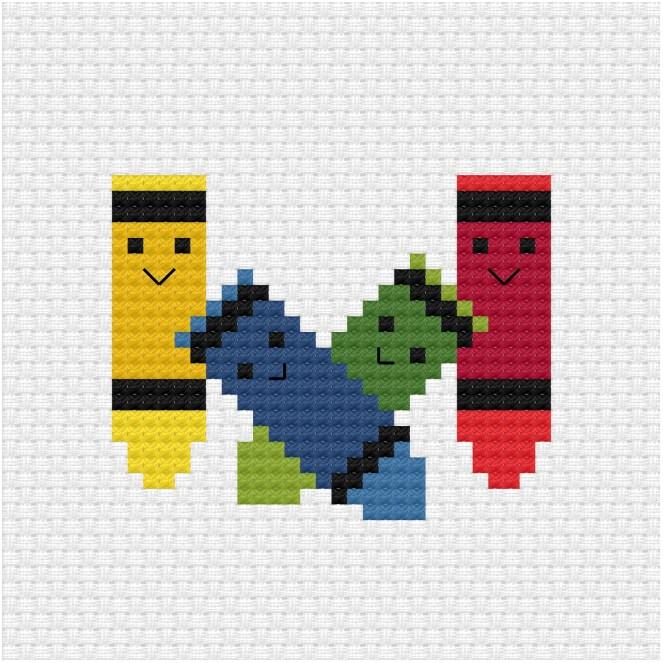 Crayons cross stitch pdf pattern