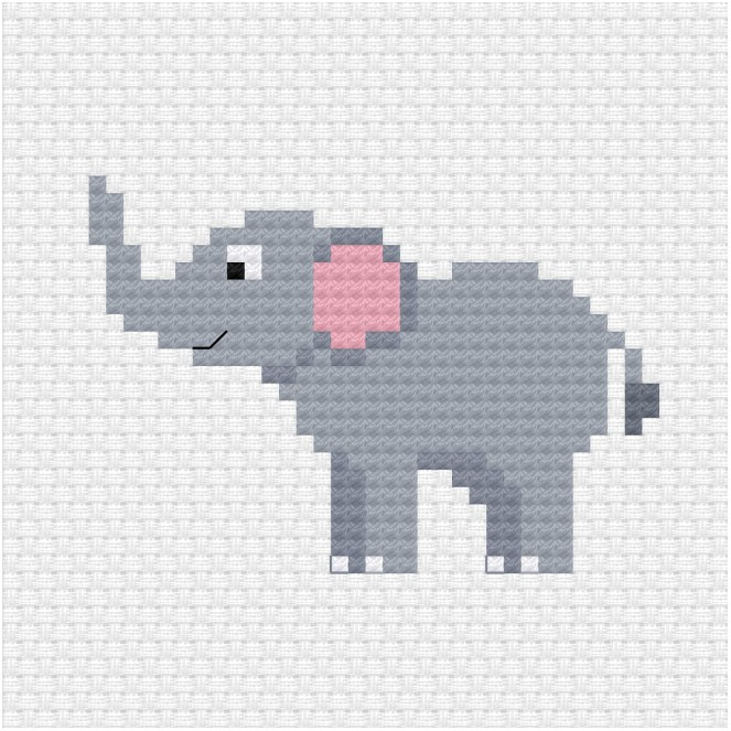 Elephant cross stitch pdf pattern - Ringcat