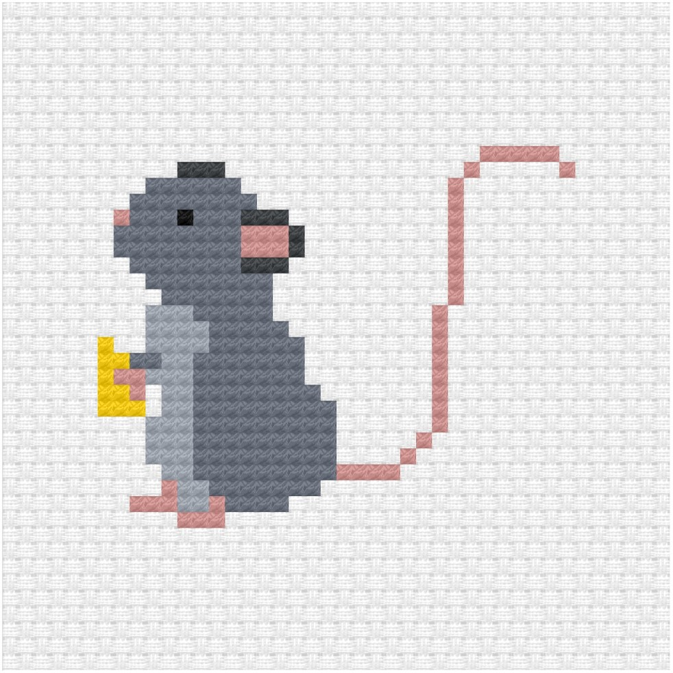 Rat cross stitch pdf pattern
