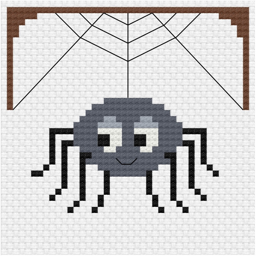 Cute spider cross stitch pdf pattern - Ringcat