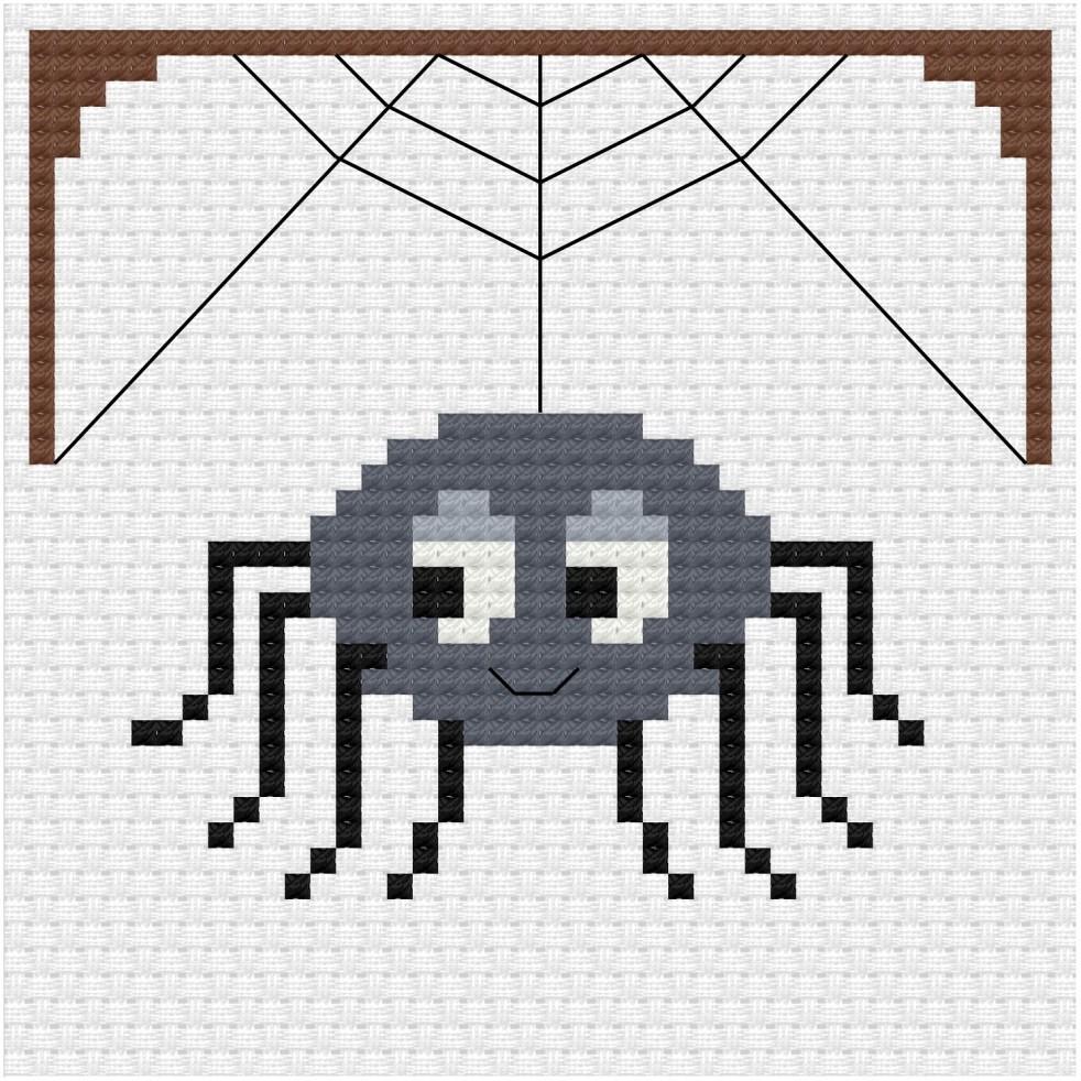 Cute spider cross stitch pdf pattern - Ringcat