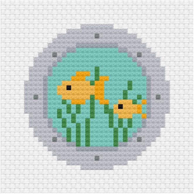 Submarine view cross stitch pdf pattern