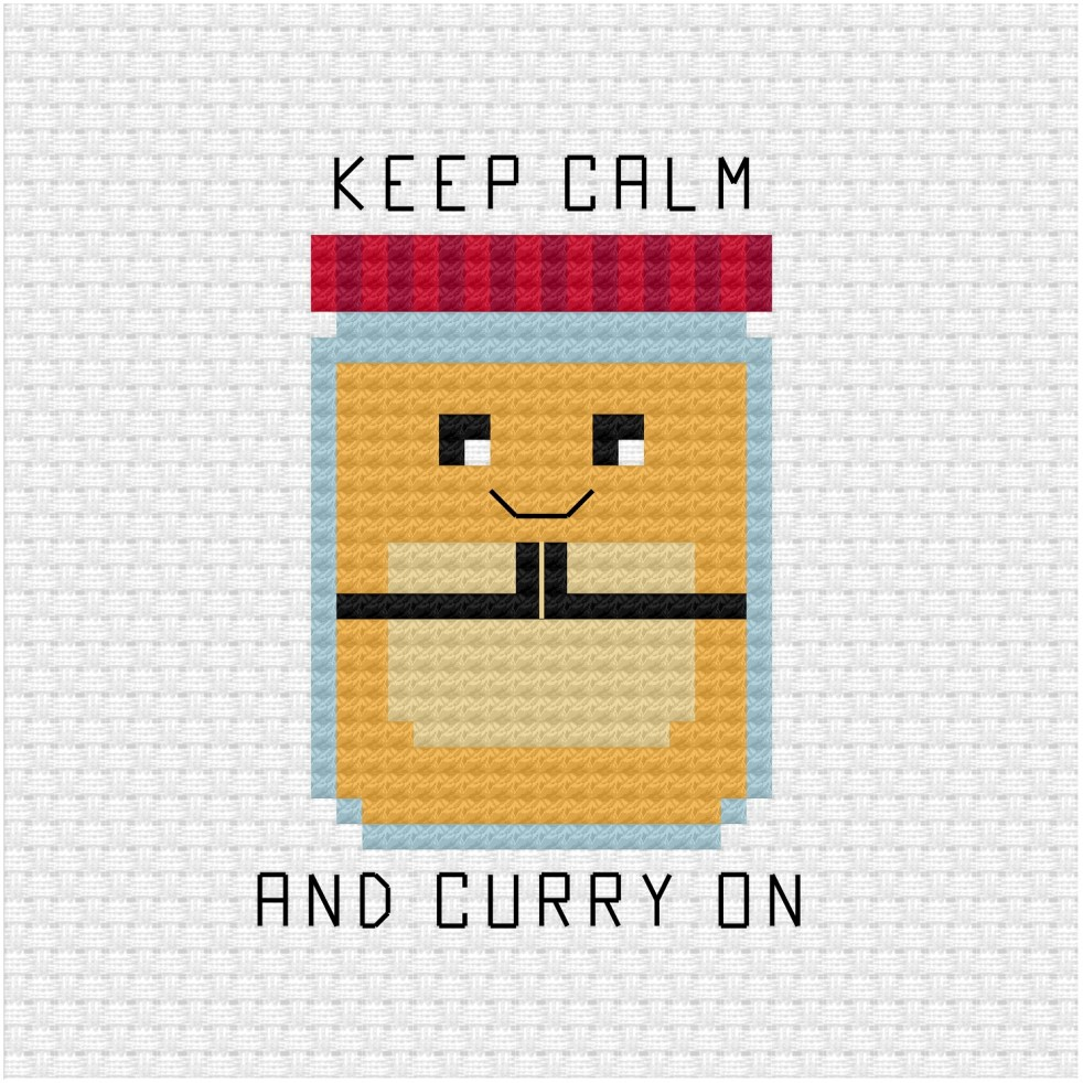 Keep calm and curry on cross stitch pattern
