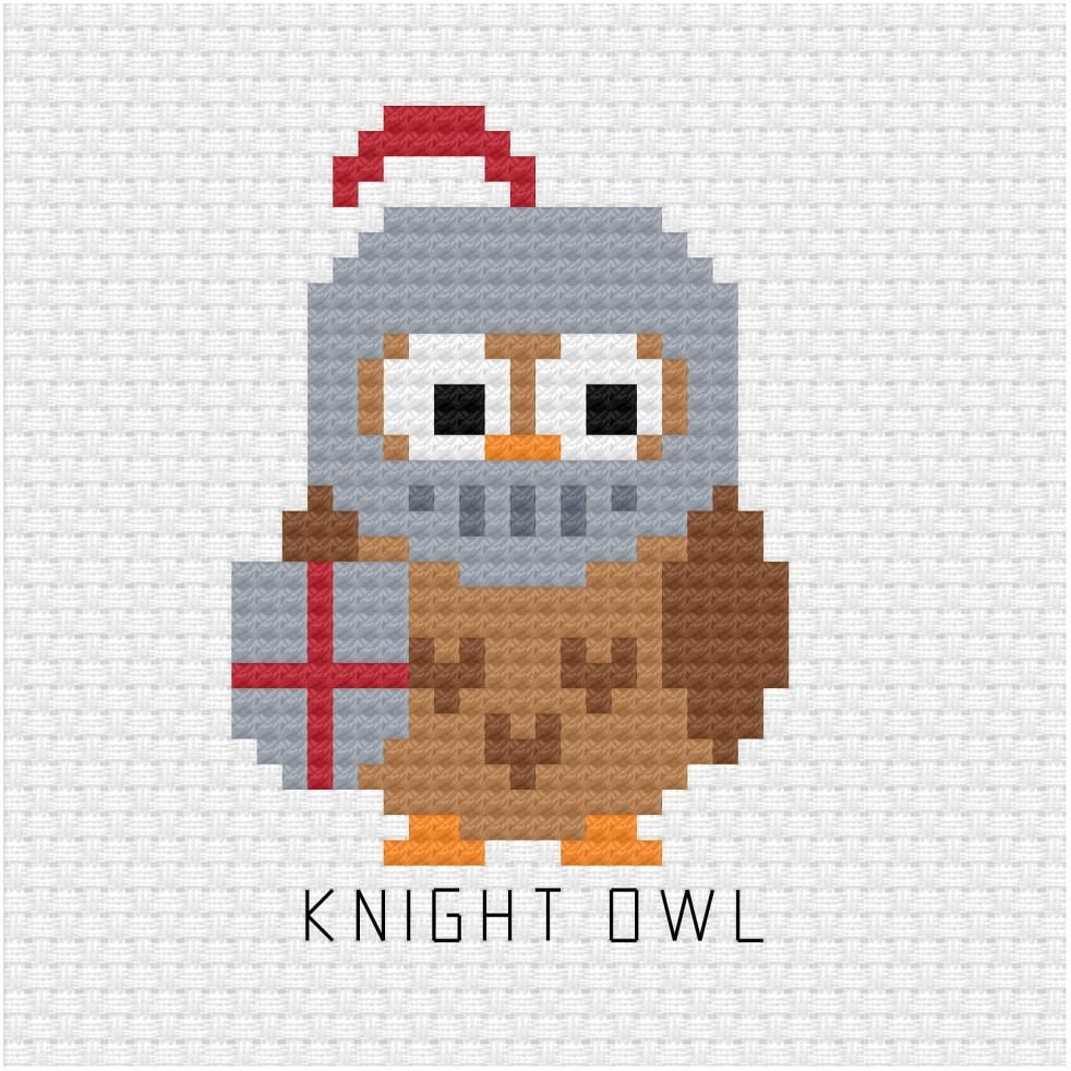 Knight owl cross stitch pattern