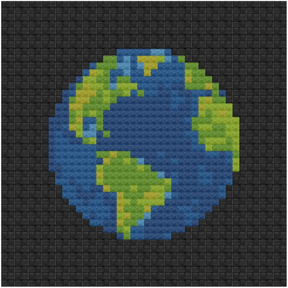 Earth cross stitch pdf pattern