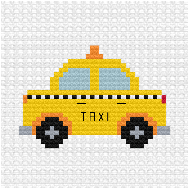 Yellow taxi cross stitch pdf pattern
