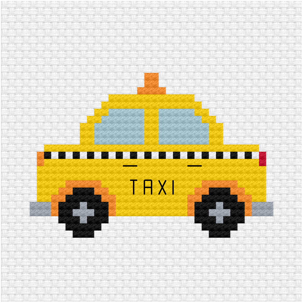 Yellow taxi cross stitch pdf pattern
