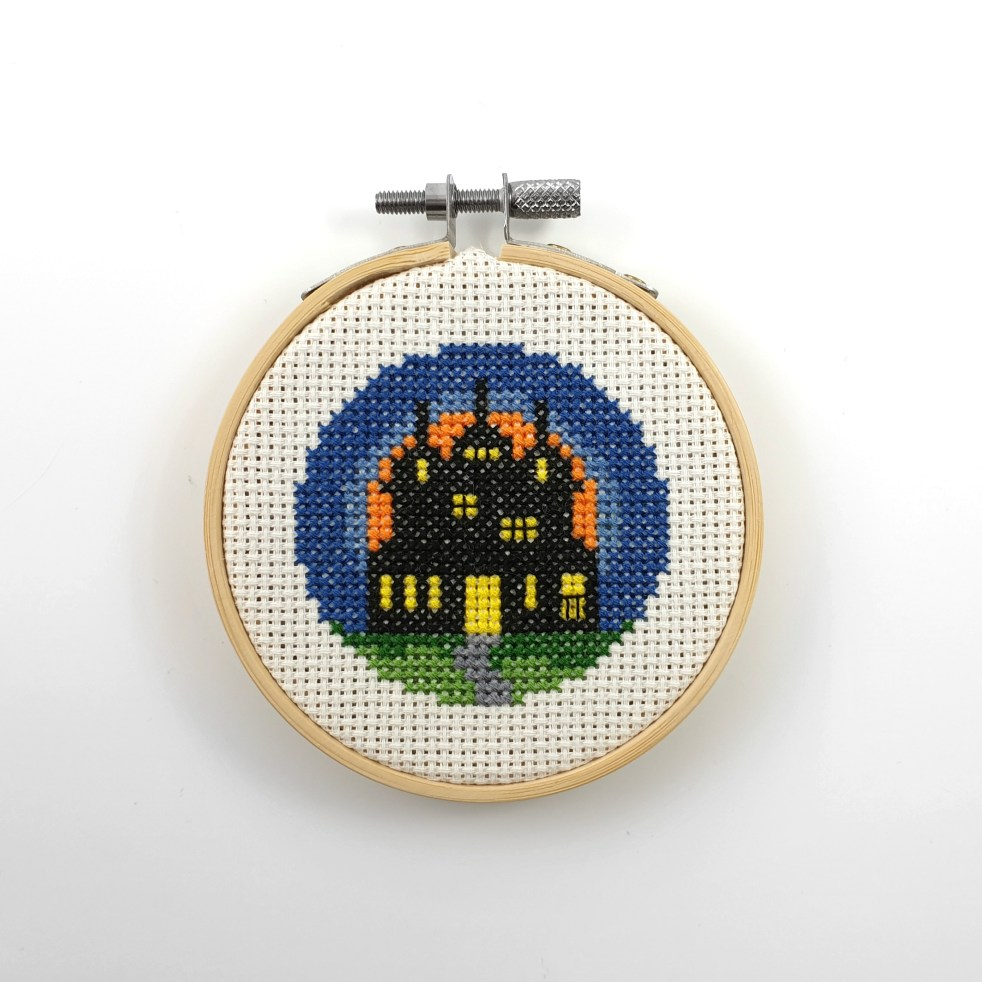 Haunted house cross stitch pdf pattern
