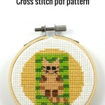 Cat on beach towel cross stitch pdf pattern