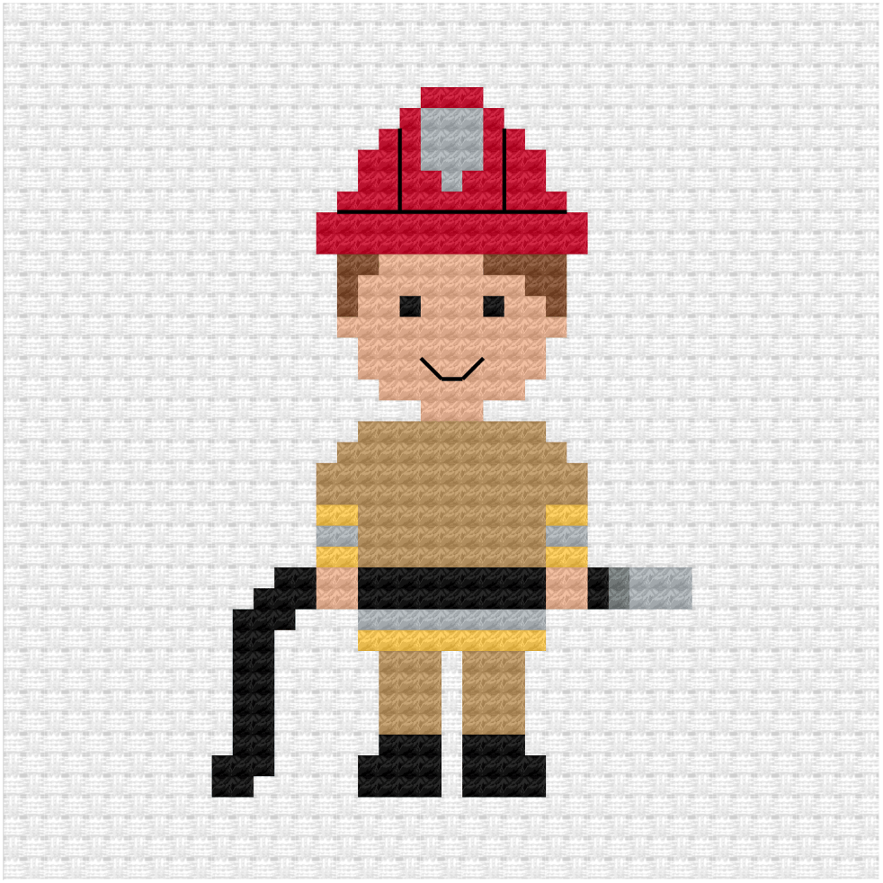 Fire fighter cross stitch pdf pattern