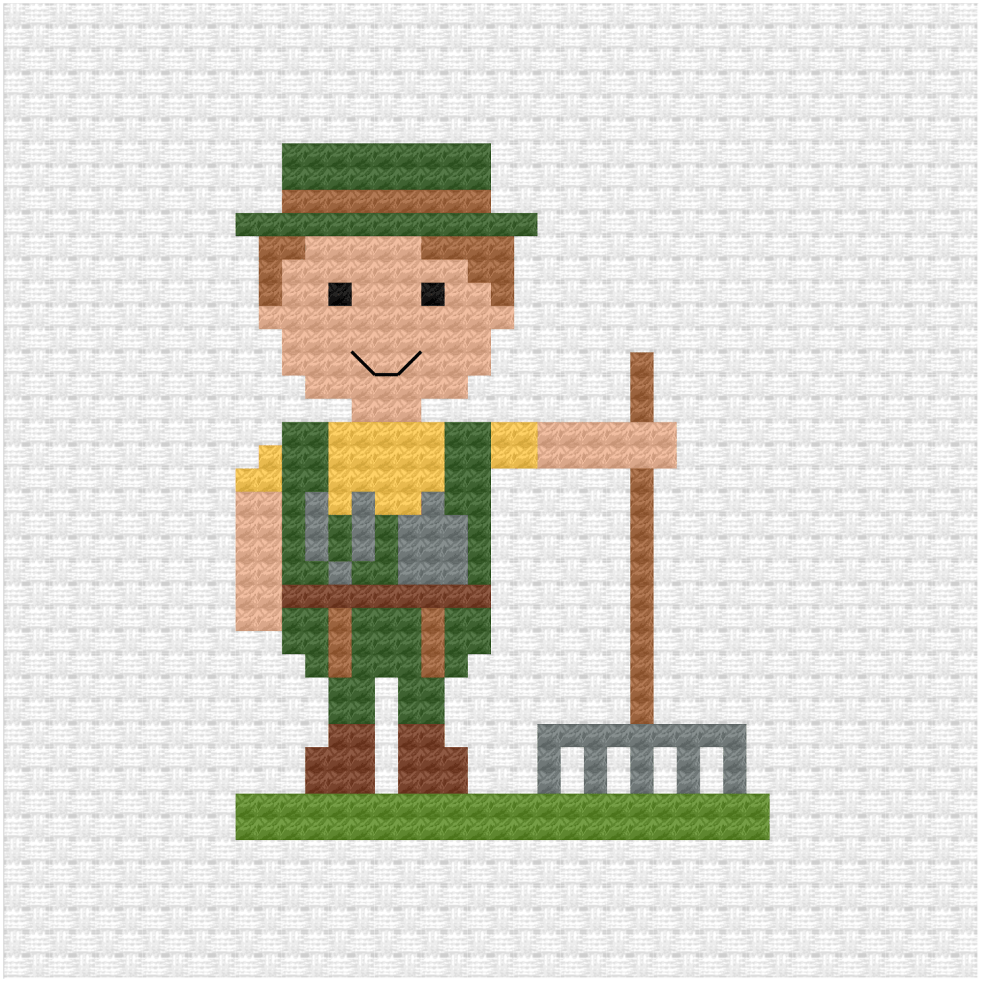 Gardener cross stitch pdf pattern