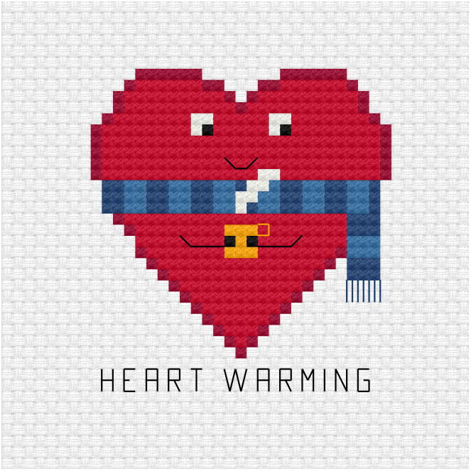 Heart warming cross stitch pattern