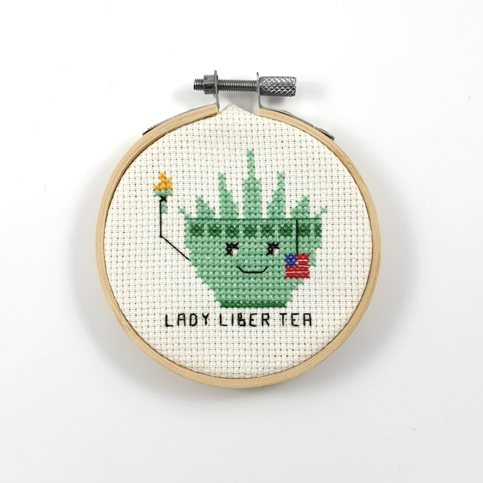 Lady liber tea cross stitch pdf pattern