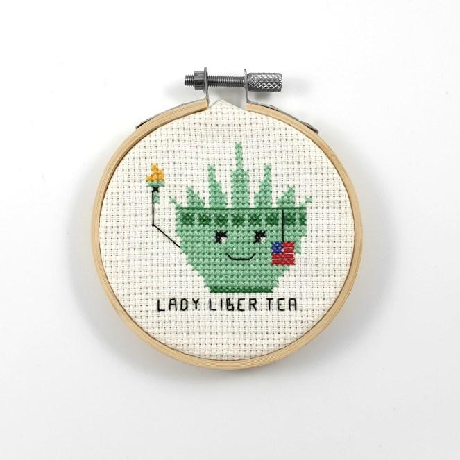 Lady liber tea cross stitch pdf pattern