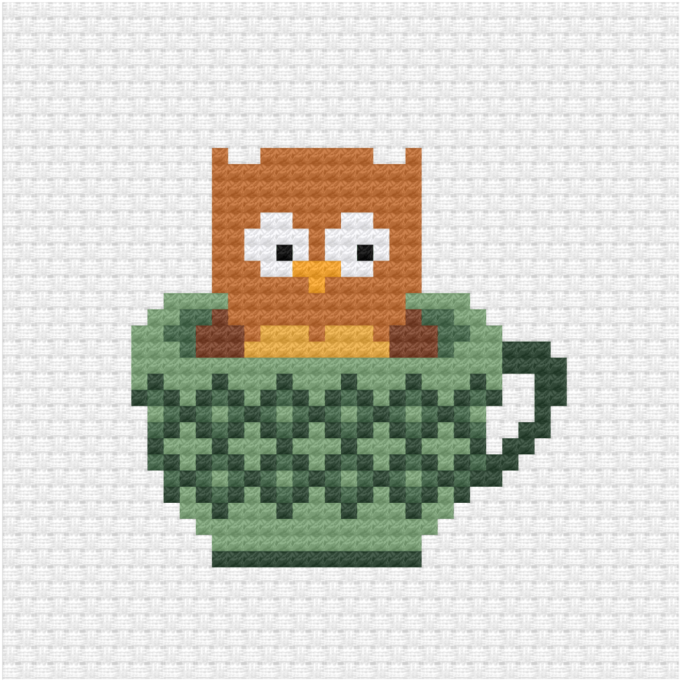Owl in a teacup cross stitch pdf pattern
