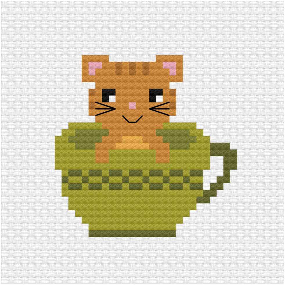 Cat in a tea cup cross stitch pdf pattern