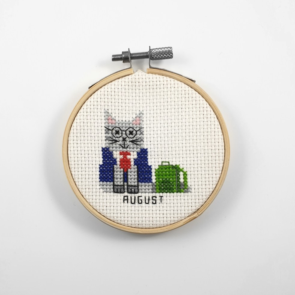August cat cross stitch pdf pattern