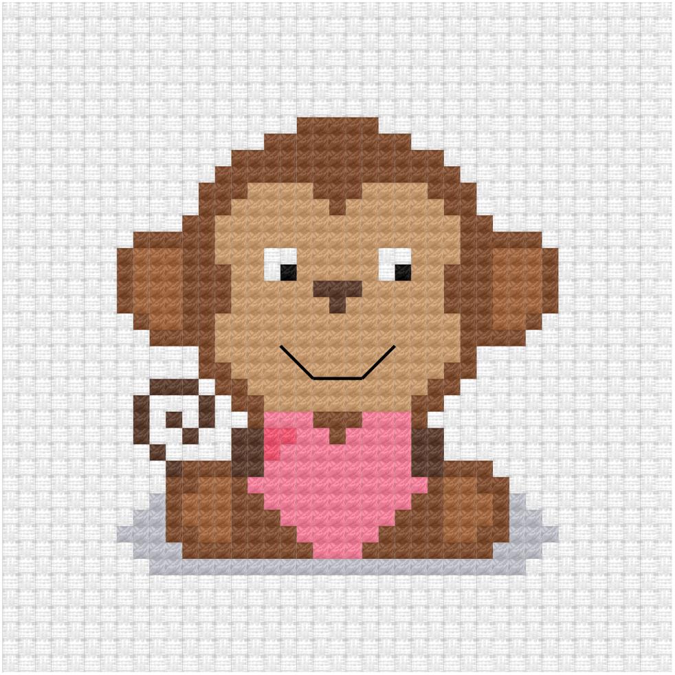 Monkey with a heart cross stitch pdf pattern