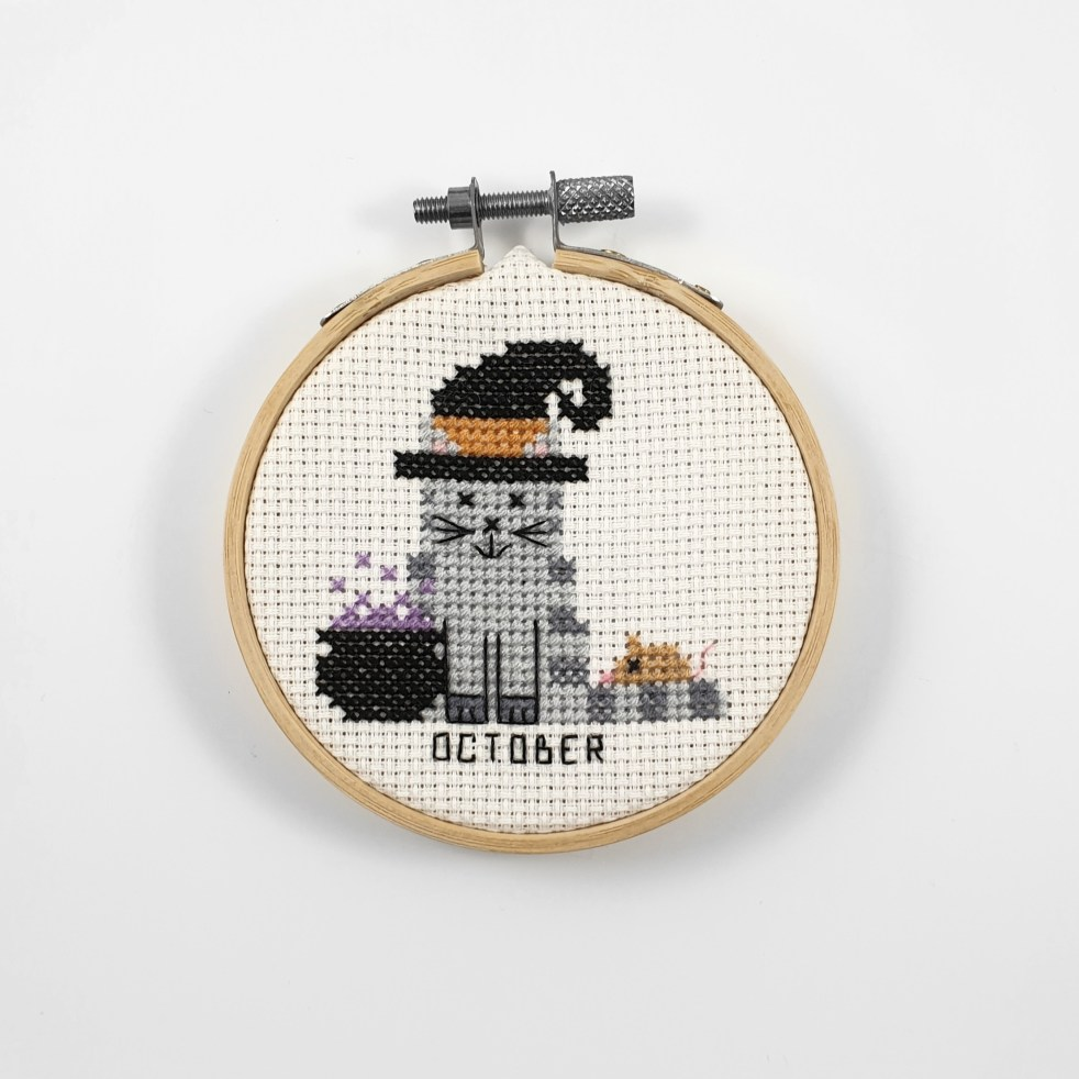 October cat cross stitch pdf pattern