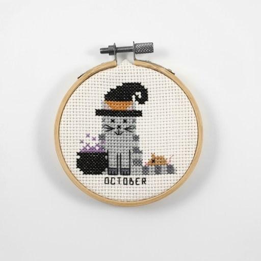 October cat cross stitch pdf pattern