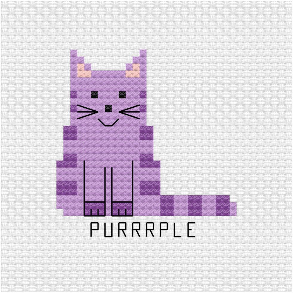 Purrrple cat cross stitch pdf pattern