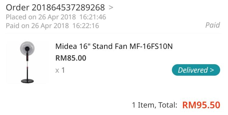 bought from lazada midea stand fan