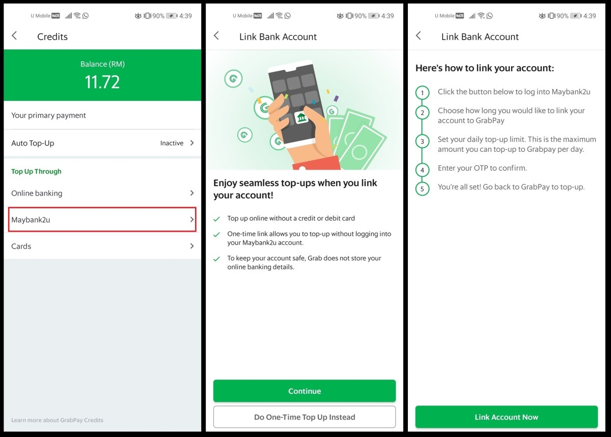 grabpay link to maybank2u 2
