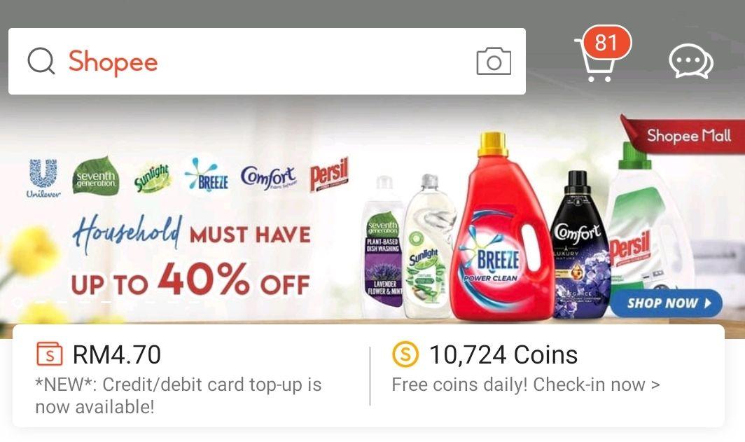 ShopeePay credit card topup