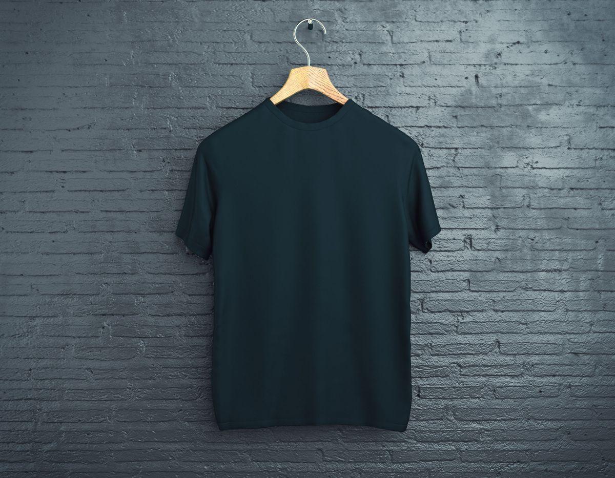 Black t-shirt on brick background
