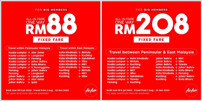 airasia rm88 and rm208