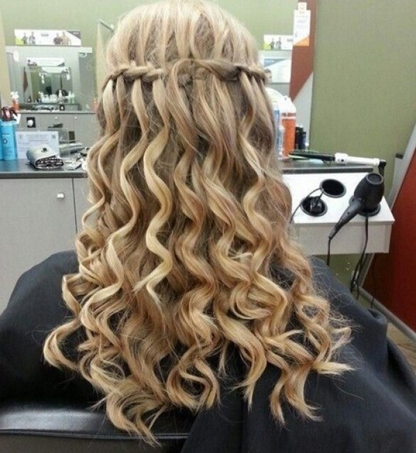 Waterfall braid for loose curly hair