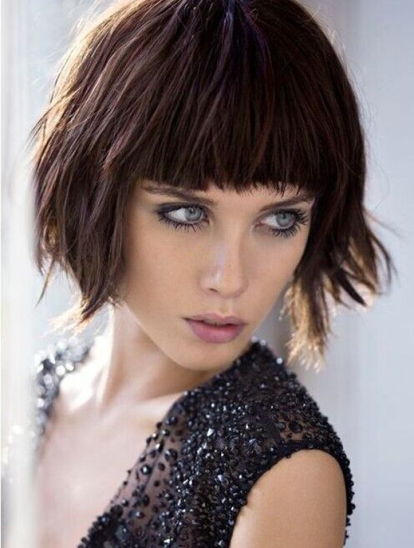 Blunt Bangs with Short Layered Hairstyle
