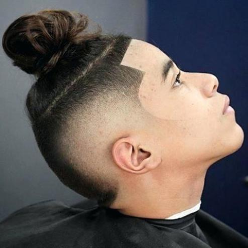 high taper fade man bun Hipster Haircut
