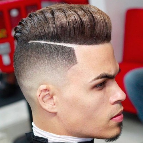 pompadour high fade with hard part