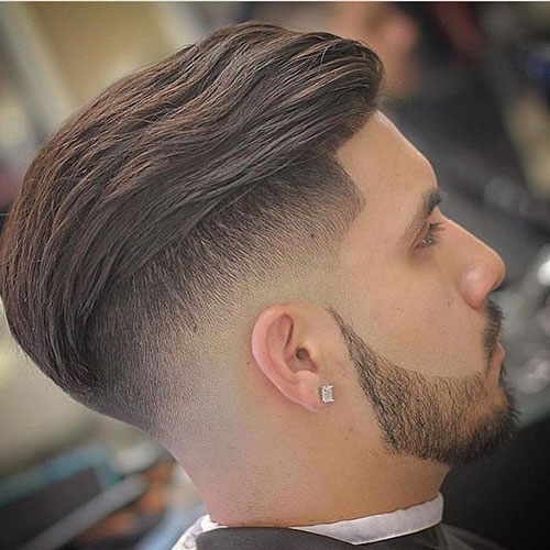 slick back Hipster Haircut with taper fade