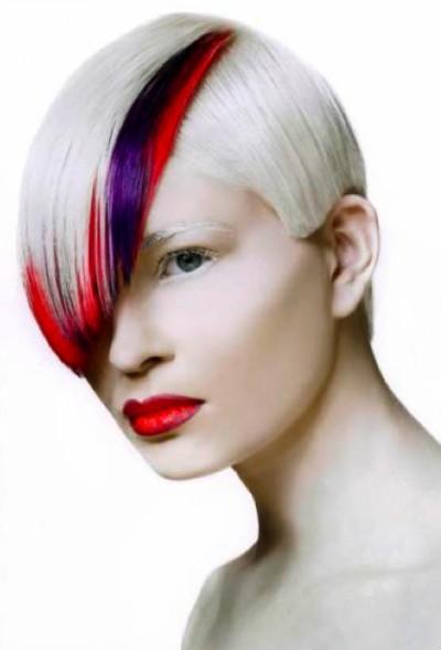 Creative White Pixie Bob Hairstyle
