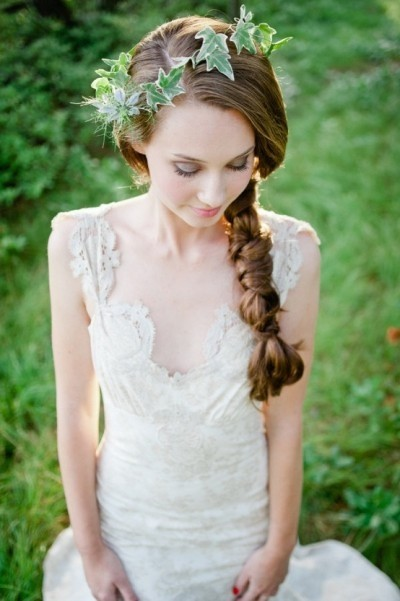 Long medieval knotted braid with a crown of leaves