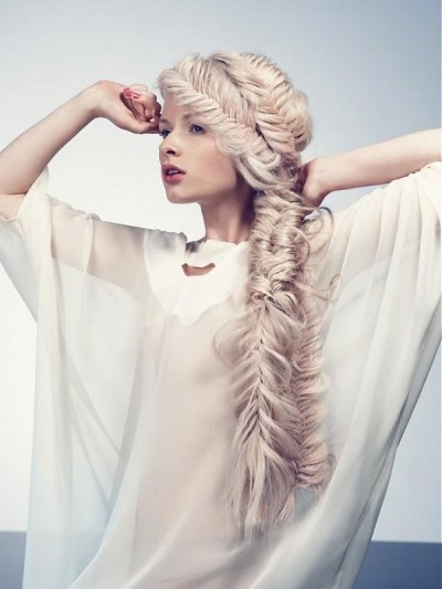 Massive and messy fishtail braid hairstyle