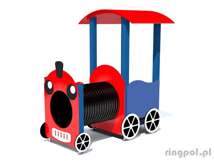Plac zabaw dla dzieci - Lokomotywa zadaszona z tubą