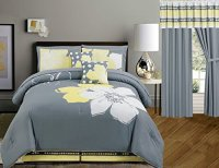 Yellow Grey White floral Bed-in-a-bag (Double) FULL Size ...