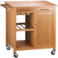 Merax Bamboo Kitchen Storage Trolley Cart with Two ...
