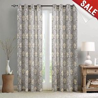 Medallion Print Curtains for Bedroom Kitchen Retro Linen ...