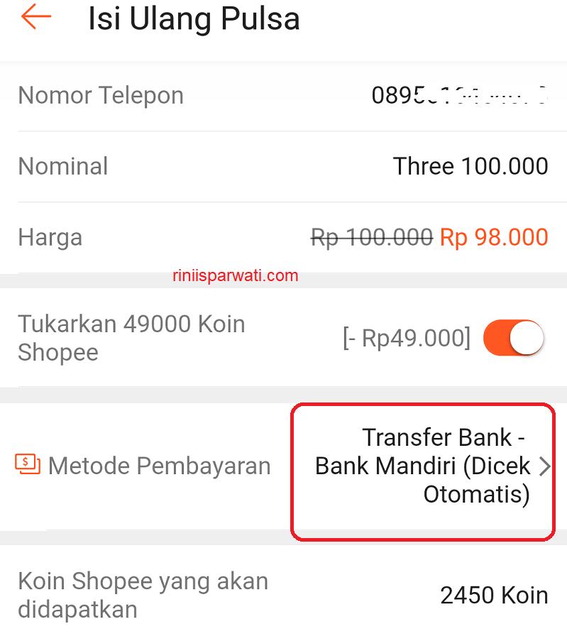 bayar shopee lewat internet banking mandiri