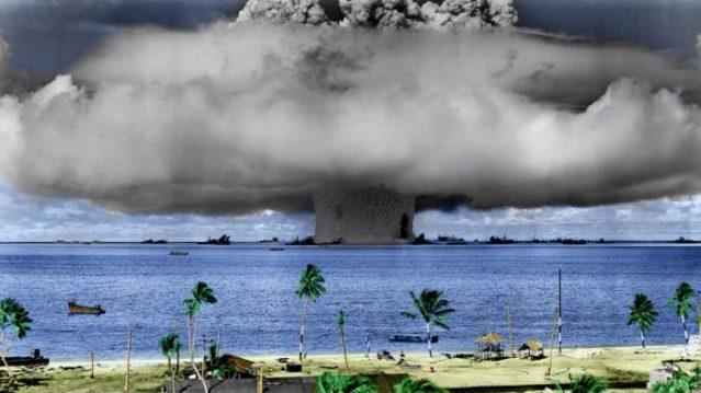 Prelude to nuclear war: Bikini atoll Detonation of American Nuclear Bomb