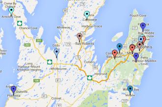 Avalon Peninsula Teams Map