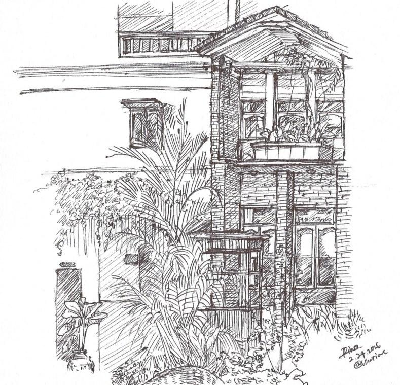 ラオス ホテルの中庭にて素描