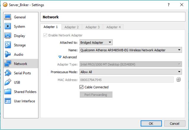 Konfigurasi network adapter Briker