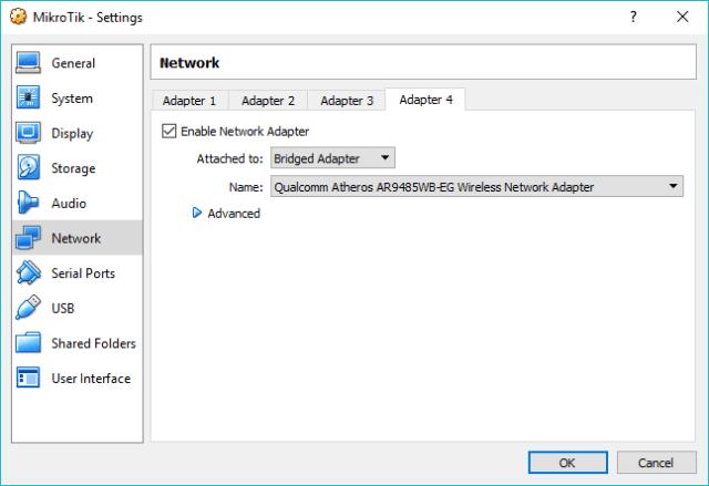 Konfigurasi bridged adapter di VirtualBox