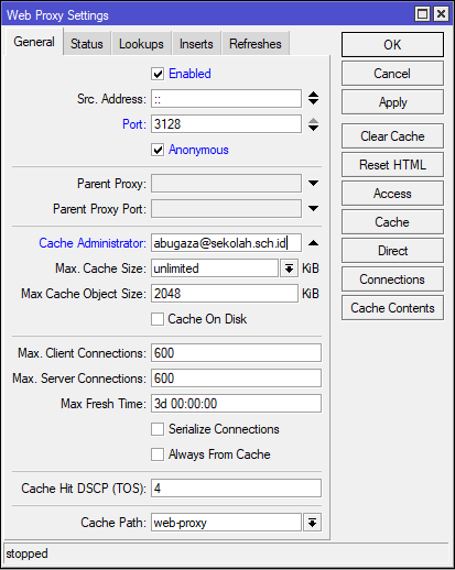 Konfigurasi Web Proxy MikroTik